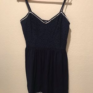 LC Navy Dress With White Piping